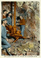 Copper miners in Butte Montana - historical postcard. Miners of Mourne, Mourne Mountains, Co. Down, Northern Ireland, mining in Butte, Montana.