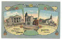 Postcard showing churches in Butte, MT.Miners of Mourne, Mourne Mountains, Co. Down, Northern Ireland, mining in Butte, Montana.