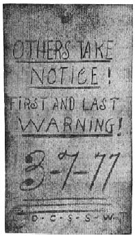 Others take notice …..  first and last warning  3-7-77. Butte vigilante warning. Miners of Mourne, Mourne Mountains, Co. Down, Northern Ireland, mining in Butte, Montana.